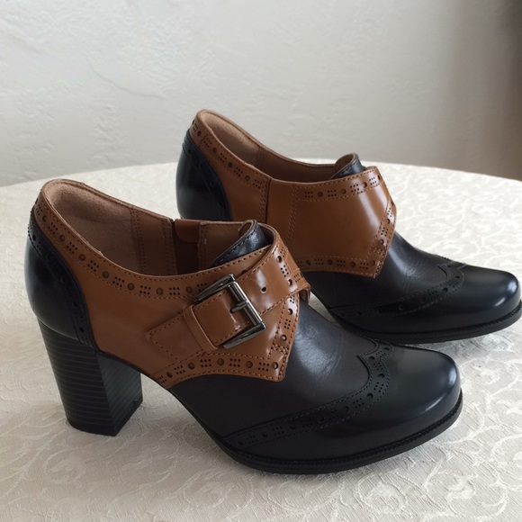 1997a87cb86 Clark's new artisan block heel buckle saddle shoes